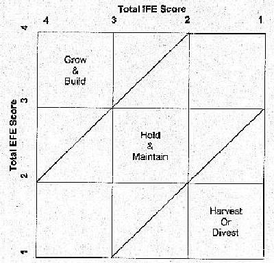 internal external ie matrix That is, the efe matrix, ife matrix, and competitive profile matrix that make up stage 1, coupled with the tows matrix, space analysis, bcg matrix, ie matrix, and grand strategy matrix that make up stage 2, provide the needed information for setting up the qspm (stage 3.